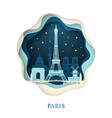 paper art of paris origami concept night city vector image vector image