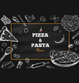 pizza and pasta frame 1 vector image vector image