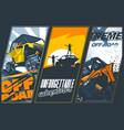 poster three banners with utvs off-road vector image vector image