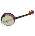 Red four strings banjo vector image vector image