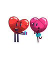 red heart giving gift box to pink heart funny vector image