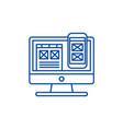 responsive app design line icon concept vector image vector image