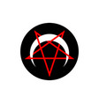 reversed or inverted pentagram with crescent moon vector image vector image