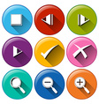 Round icons with the different buttons vector image