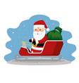 santa claus in the sled with christmas gifts vector image vector image
