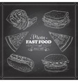 Scetch of fast food menu on a black board vector image vector image
