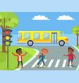 schoolchildren crossing road on pedestrian vector image