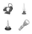 searchlight kerosene lamp candle flashlight vector image