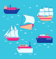 ships and boats icons collection in flat style vector image vector image