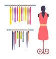 shop window in women clothing store mannequin set vector image vector image