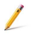 short yellow pencil realistic pencil vector image vector image