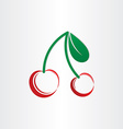stylized cherries symbol with leafs vector image vector image
