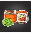 sushi color sticker California roll vector image