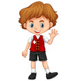 switzerland boy waving hello vector image vector image