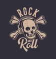 t shirt design rock and roll with skull vintage vector image