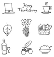 Thanksgiving flat hand draw fruit in doodle vector image vector image