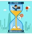 Time management Businessman sinking in hourglass vector image vector image