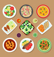 top view dinner table with european dishes vector image