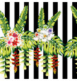 tropical flowers and leaves seamless black white vector image vector image