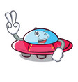 two finger ufo character cartoon style vector image