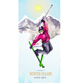 watercolor greeting card with young man skier for vector image vector image
