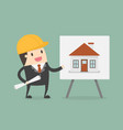 young engineer presenting house building vector image