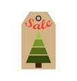 sale promo tag evergreen tree of geometric figures vector image