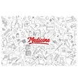 Medicine doodle set with lettering vector image
