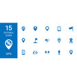 15 gps icons vector image vector image