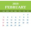 2019 calendar template - february vector image vector image