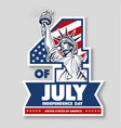 4 of july day of independence statue of liberty vector image