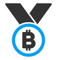 bitcoin medal with ribbons flat icon vector image
