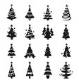black icon set of christmas tree vector image