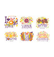 bright summer labels with original design vector image vector image