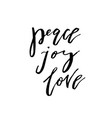 christmas card with calligraphy peace joy love vector image vector image