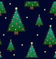 christmask tree with star on dark blue background vector image
