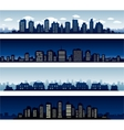 City buildings at night and day vector image vector image