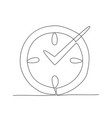 clock one line drawing in line vector image vector image