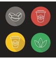 Coffee and tea flat linear long shadow icons set vector image vector image