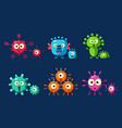 collection cute germs set microbes bacterias vector image