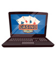computer with playing cards casino online vector image vector image