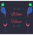 concept of wine house with bunch of grapes and vector image