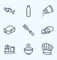 cook icons line style set with butter barbecue vector image