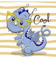 cute blue dragon in a yellow eyeglasses vector image vector image