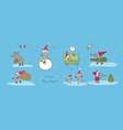 cute cartoon rats greeting card chinese zodiac vector image vector image