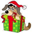 cute dog in santas hat vector image vector image