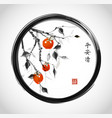 date-plum tree with orange fruits in black enso vector image vector image