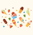 different set ice cream popsicles fruit ice vector image