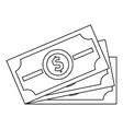 Dollar banknotes icon outline style vector image vector image