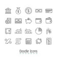 doodle financial icons vector image vector image